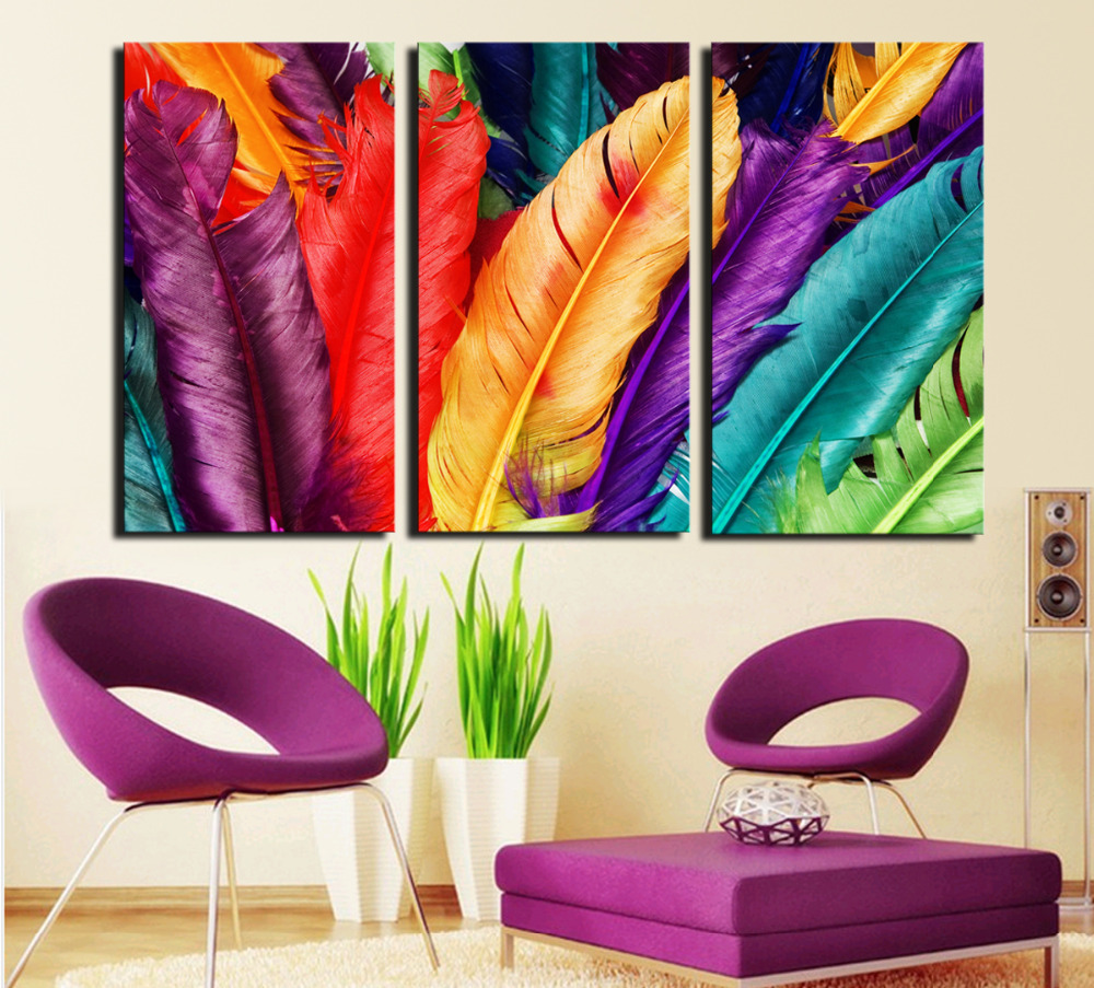 Wall Decor Paintings 3 piece fresh look color feather modern home wall decor painting