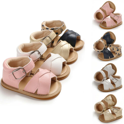 2019 Summer Baby Shoes Newborn Sandals Kids Boys Girls Sandals Solid Non-slip PU Leather Prewalker Casual Soft Sole Shoes