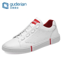 GUDERIAN Fashion Summer Men Leather Casual Shoes Breathable Hollow Out Flat Sneakers Sapatos Masculino Chaussure Homme