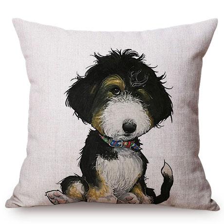 Pet Dog Animals Funny Style Cushion Cover Dachshund Schnauzer Dog Children Like Cotton Linen Sofa Decorative Throw Pillow Case M110-1