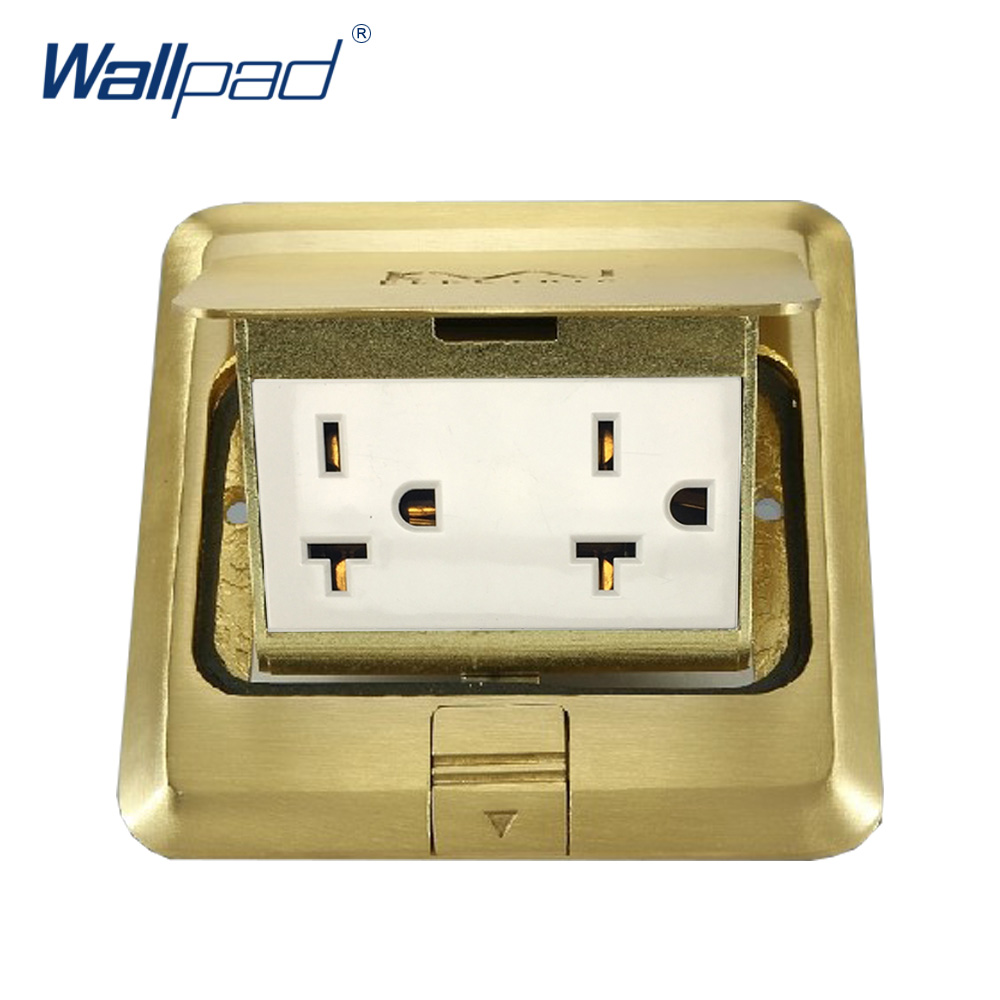 US Floor Socket Wallpad Luxury Copper and SS304 Panel Damping Slow Open For Ground With Mouting Box AC 110-250V Silver and Gold 15a 16a south africa socket and double ubs socket wallpad 146 86mm white glass 2 usb ports and 16a sa switched socket with led