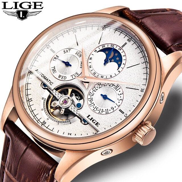 Мужские часы автоматические механические часы с турбийоном кожа Повседневное бизнес наручные relojes hombre Лидирующий бренд LIGE Роскошные