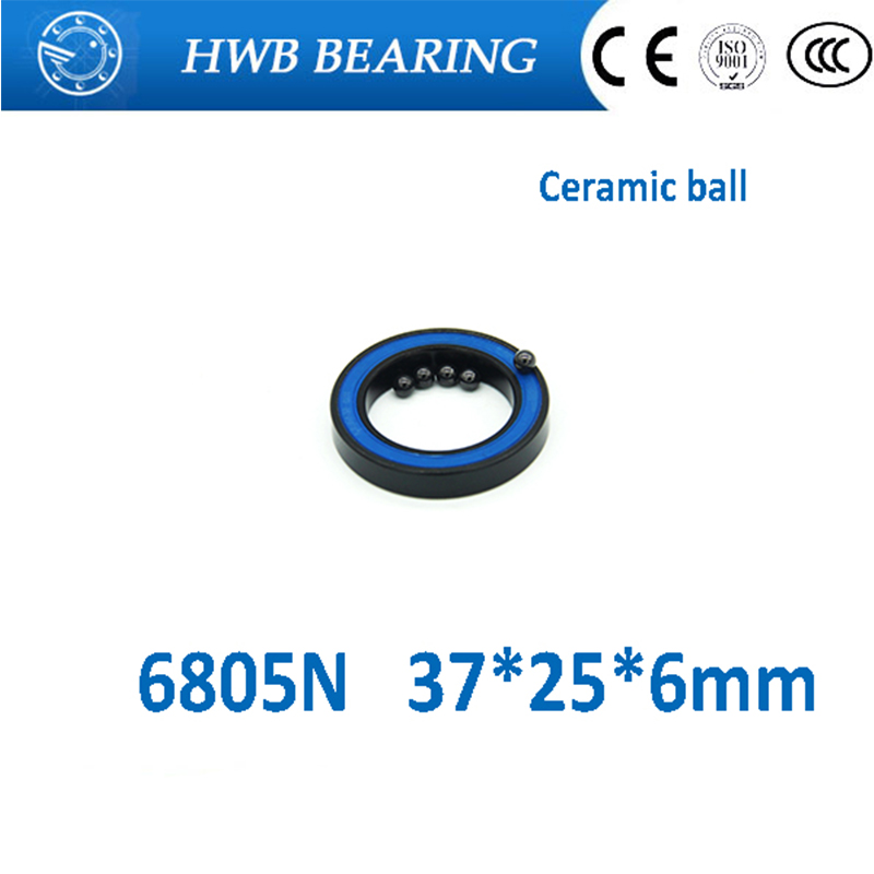 Free Shipping 6805N bearing steel hybrid ceramic ball bearing 6805n <font><b>rs</b></font> (37*25*6) bicycle hubs bearing 6805N-2RS image