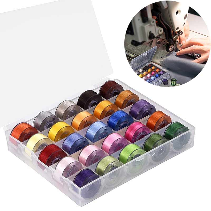 25pcs Coloful Random Color Sewing Thread Clear Plastic Machine Bobbins for Brother/ Babylock/ Janome/ Kenmore/ Singer 2017ing