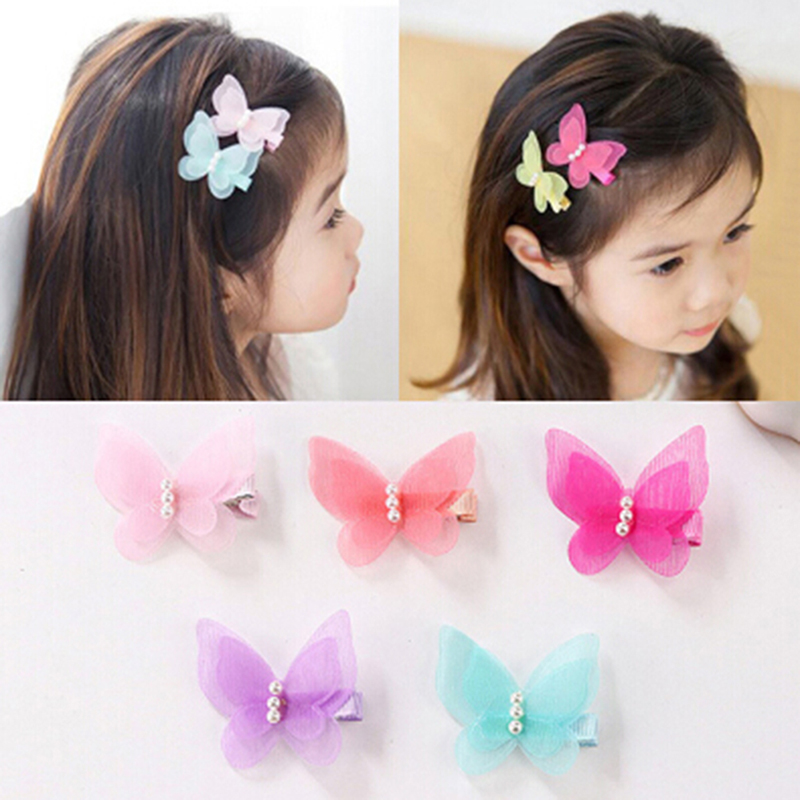 5pcs/lot Ribbon Bow Butterfly Hair Clips Girls Hair Grips Kids Hairpin Headwear Accessories Random Color