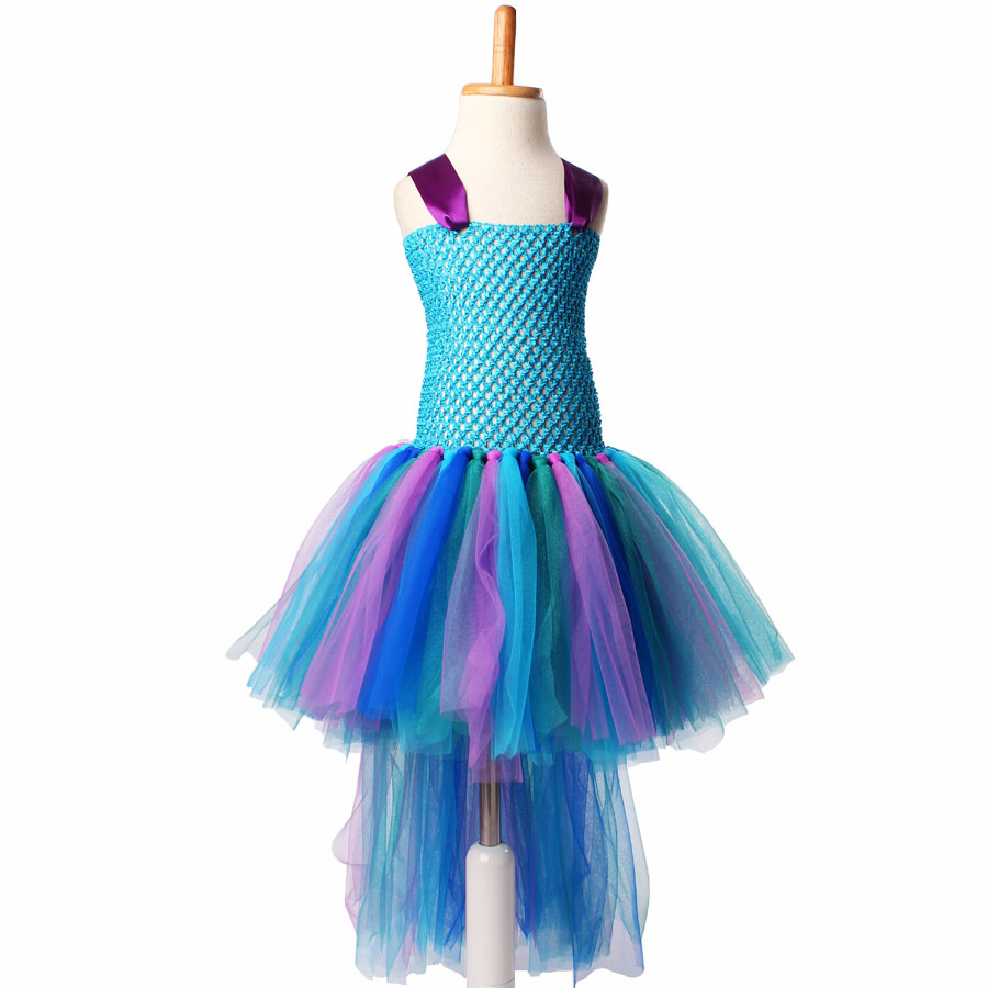 Peacock Tutu Dress For Girls Pageant Birthday Party Ball Gown Baby Girls Peacock Vestidos Children Purim Clothes Photo Props (5)
