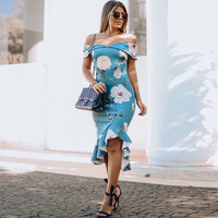 LZJ Women Off Shoulder Sexy printed lotus leaf hem Pinup Formal Cocktail Wedding Party Bodycon Mermaid Pencil Wiggle Midi Dress