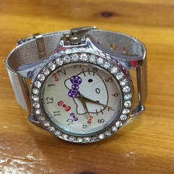 Рисунок «Hello Kitty» мультфильм женские часы малыш Girlsstainless стальной сетки ремни кварцевые часы детей Hellokitty симпатичные часы Montre Enfant