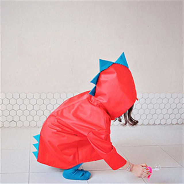 Cute Small Dinosaur Waterproof Polyester Rain Coat Boy Children Girls Windproof Poncho Kindergarten Student Baby Raincoat
