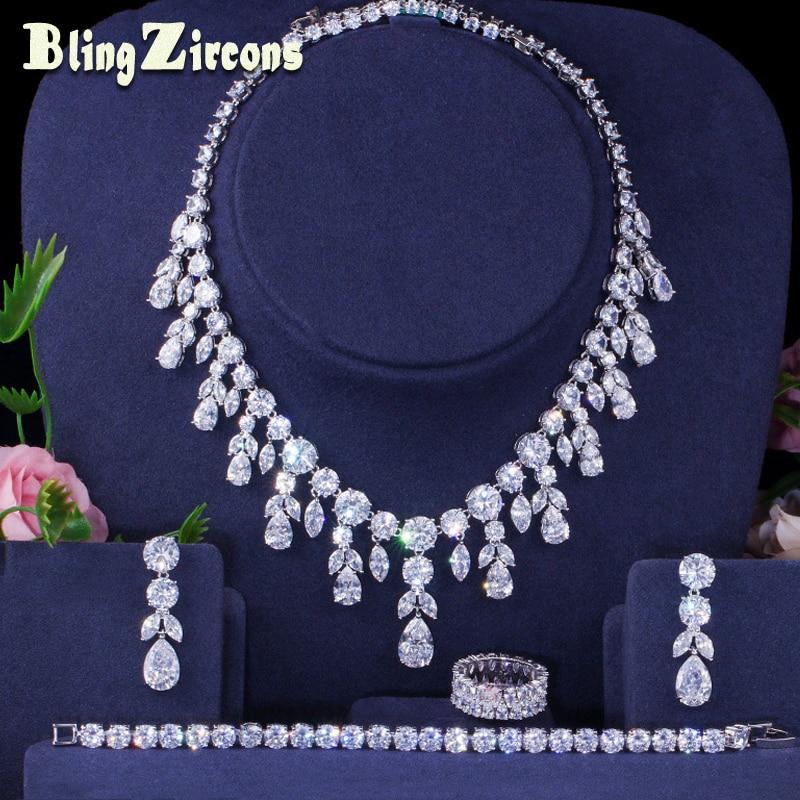 BlingZircons AAA cubique Zircon lourd collier boucles d'oreilles Bracelet anneau 4 pièces Dubai complet nuptiale mariage ensembles de bijoux pour les femmes JS183