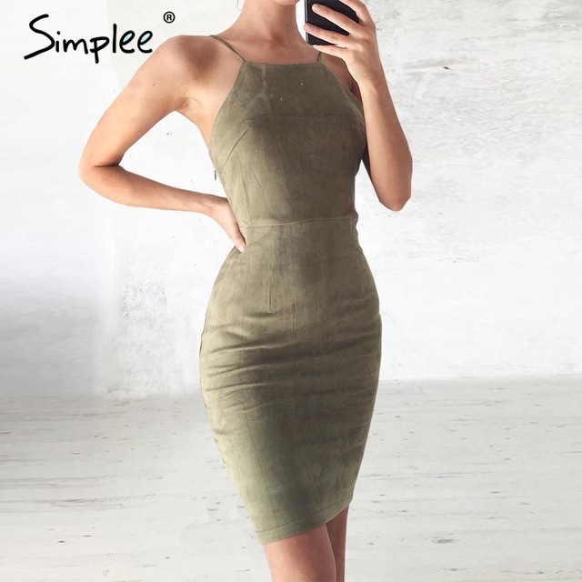Simplee sexy lace up backless bodycon dress camurça do vintage oco out curto dress 2017 mulheres de slim sem mangas festa black dress