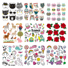 Wholesale Stickers Iron on Patches Unicorn Flower Set Clothing Deco Diy Heat Transfer Animal Badges Washable Appliques Print E