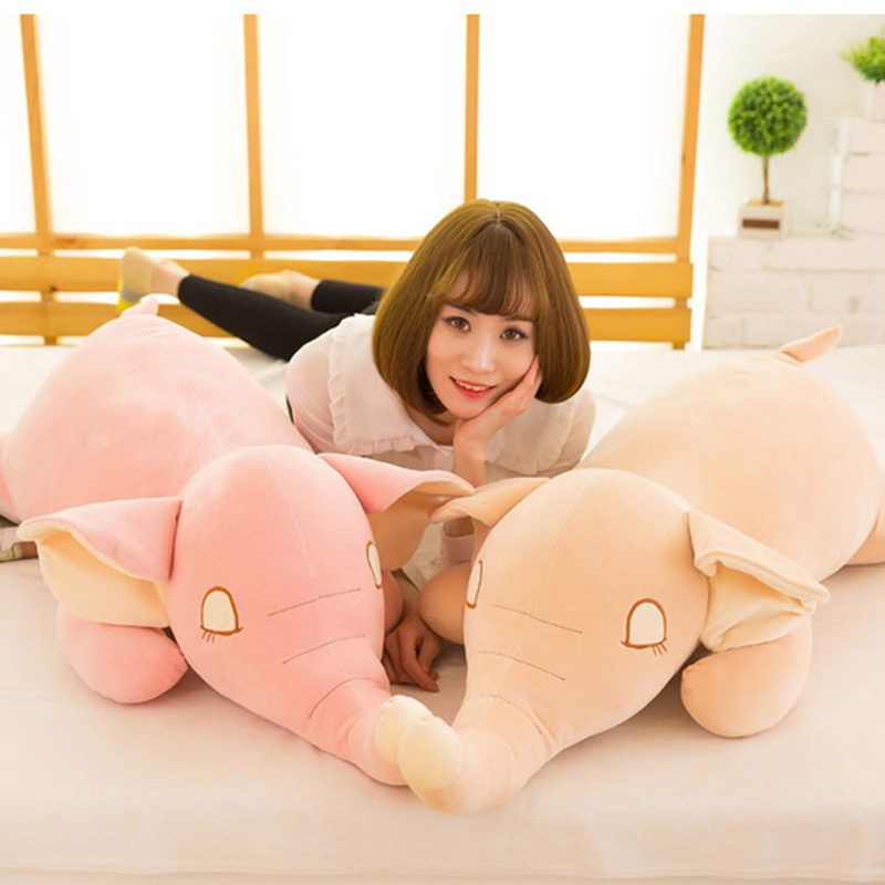 Fancytrader Soft Stuffed Big Elephant Plush Toys Giant 120cm 47inch Animals Pillow Doll Pink Beige Gray fancytrader giant plush blue whale toy big stuffed soft sea animals whale pillow doll kids best gifts