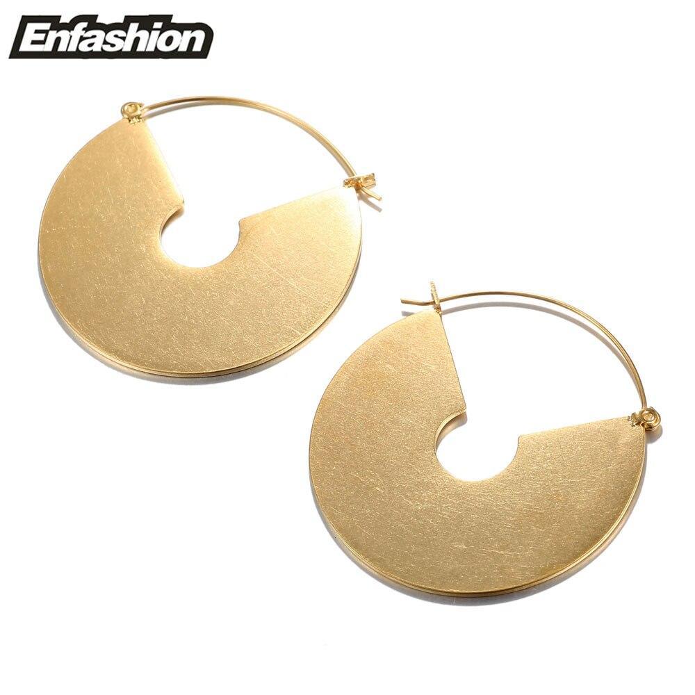 Enfashion Vintage Big Circle Dangle Earrings Matte Gold colo