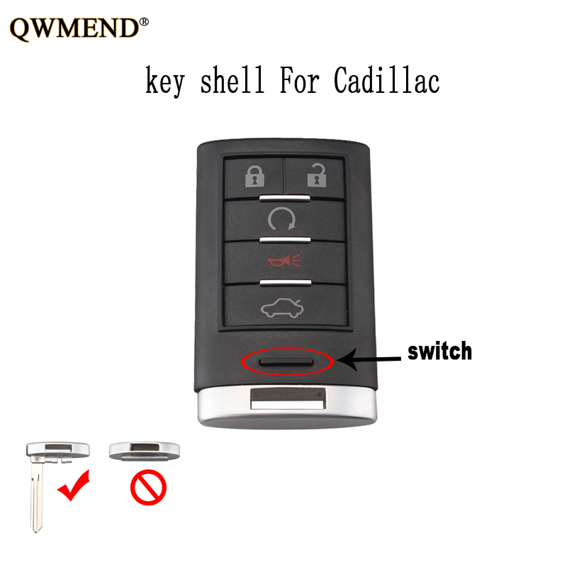 2006 Cadillac Dts Battery: QWMEND 5Buttons Smart Remote Key Shell For Cadillac DTS