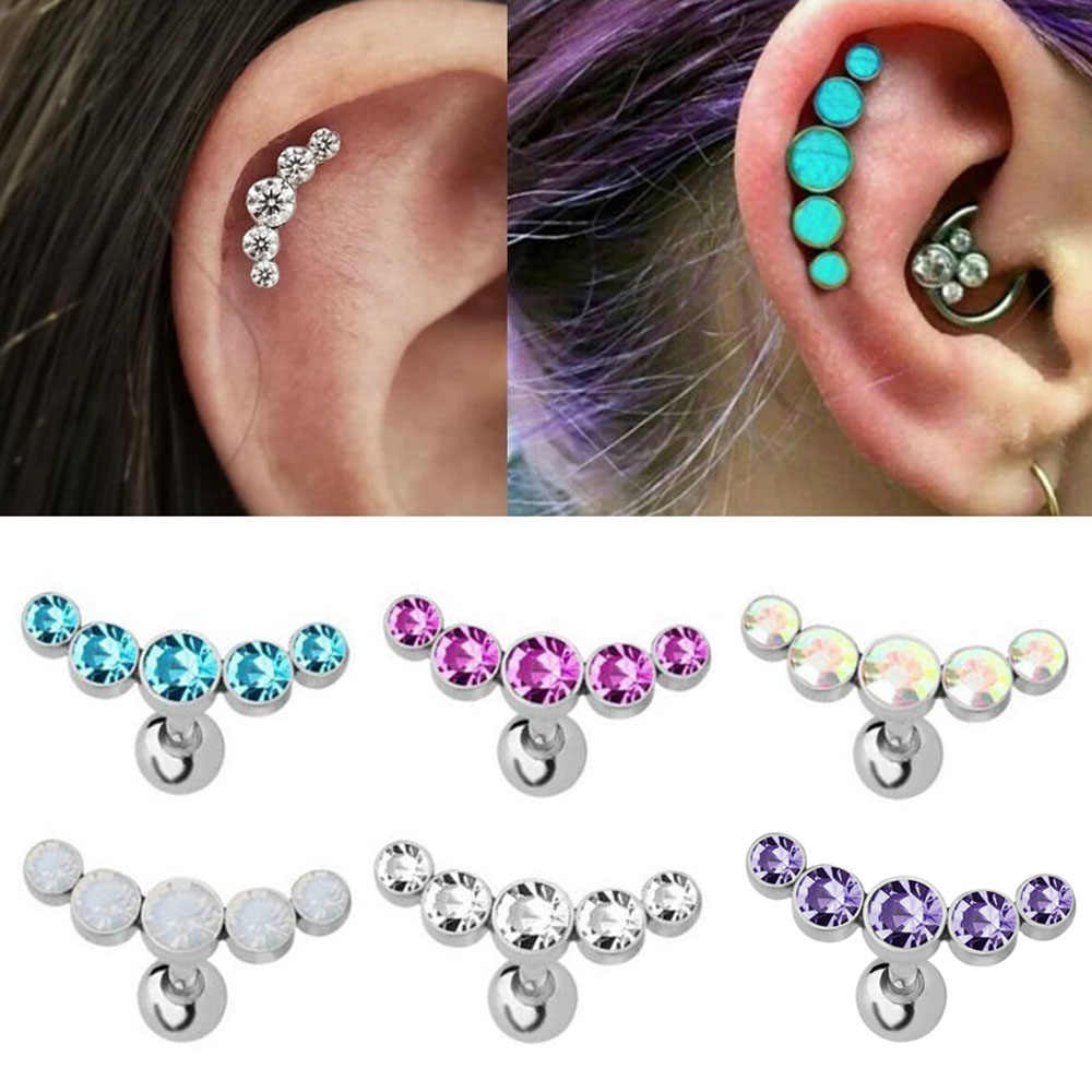 1PC คริสตัลอัญมณีหู Tragus แหวนสแตนเลสบาร์หูเจาะกระดูกอ่อน Helix Piercing ผู้หญิงผู้ชายเครื่องประดับหูเจาะ