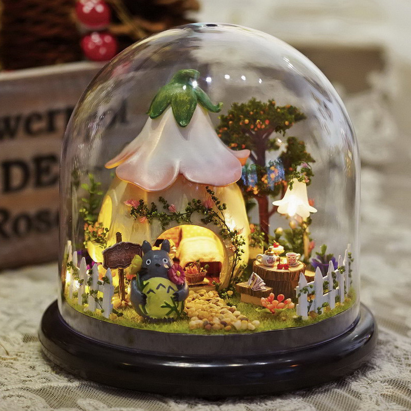 Diy casa de bonecas móveis casa de boneca em miniatura capa poeira miniaturas para casa de bonecas de madeira para bonecas brinquedos para crianças