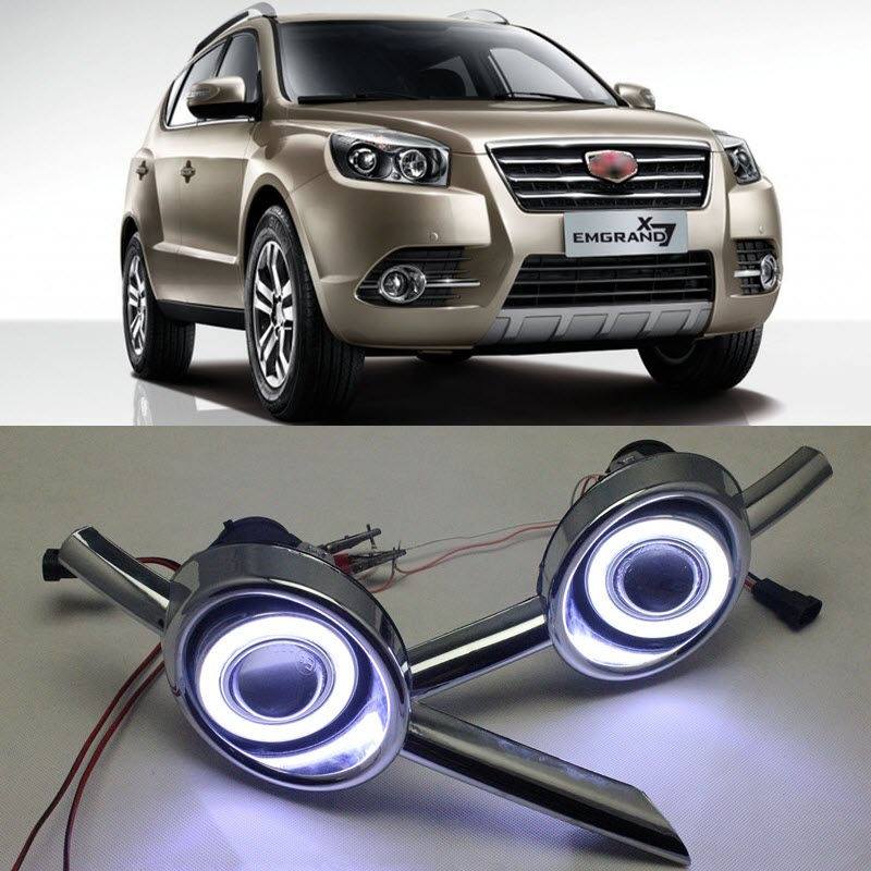 For Geely Emgrand X7 GX7 2016 White Angel Eyes DRL Yellow Signal Light H3 Halogen / Xenon Fog Lights Projector Lens
