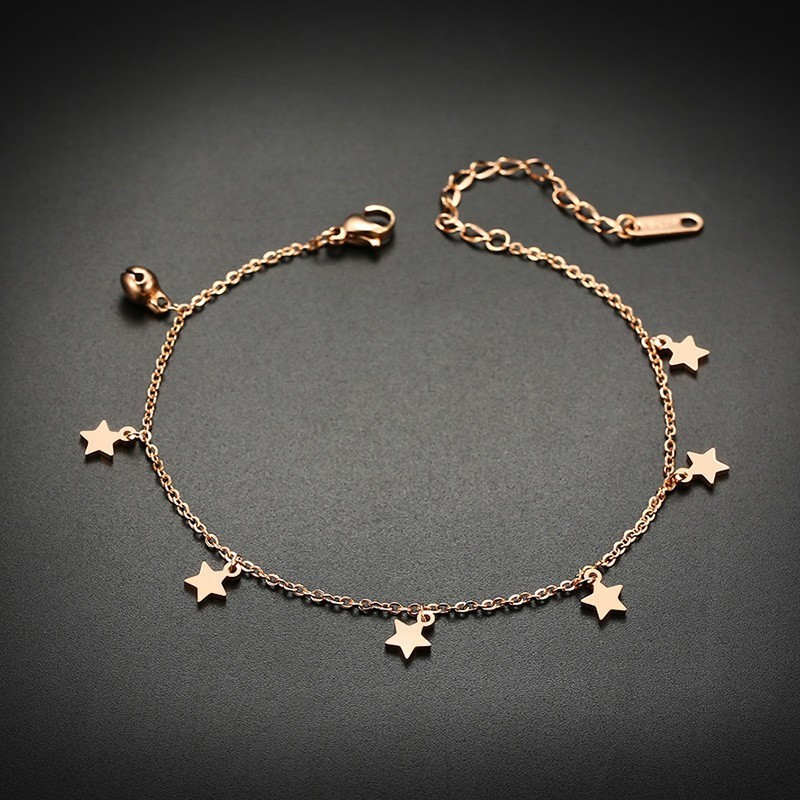Trendy Stars Charm Anklets for Women Rose Gold Color Stainless Steel Length Adjustable 4