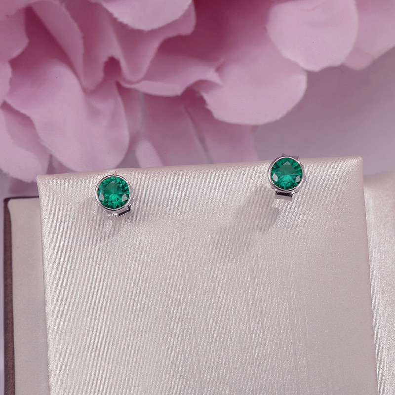 Fine Jewelry Stud Earrings For Women S925 Sterling Silver Green Emerald Natural Round Gemstone Earrings Elegant Bijoux Femme