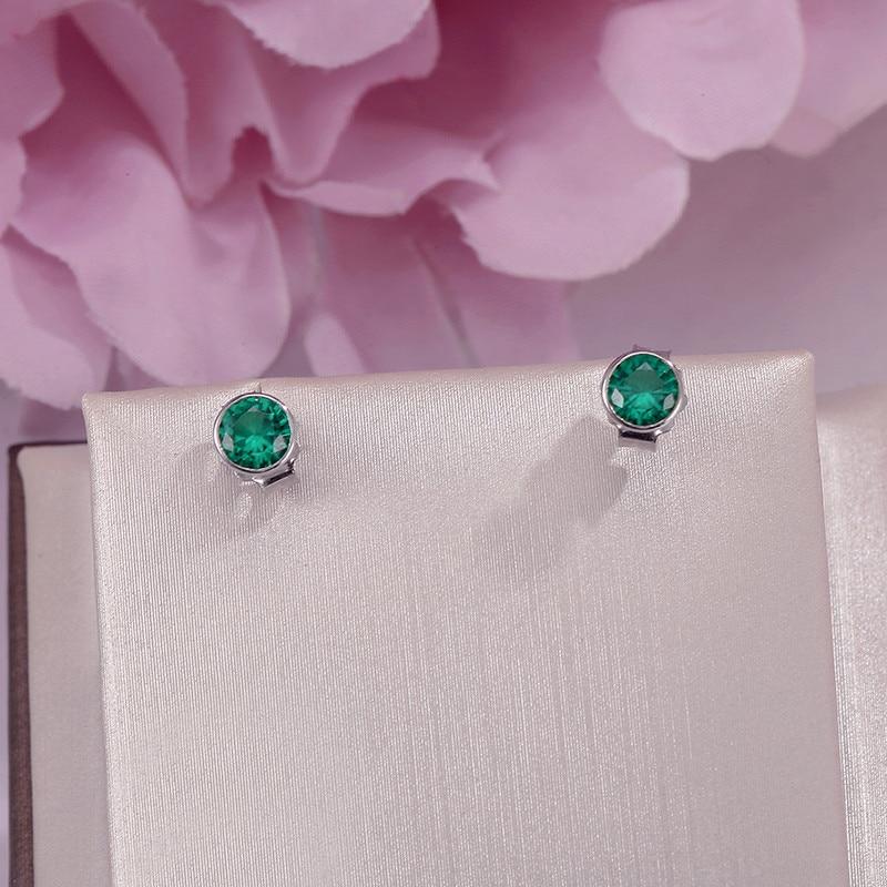 Fine Jewelry Stud Earrings For Women S925 Sterling Silver Green Emerald Natural Round Gemstone Earrings Elegant Bijoux Femme