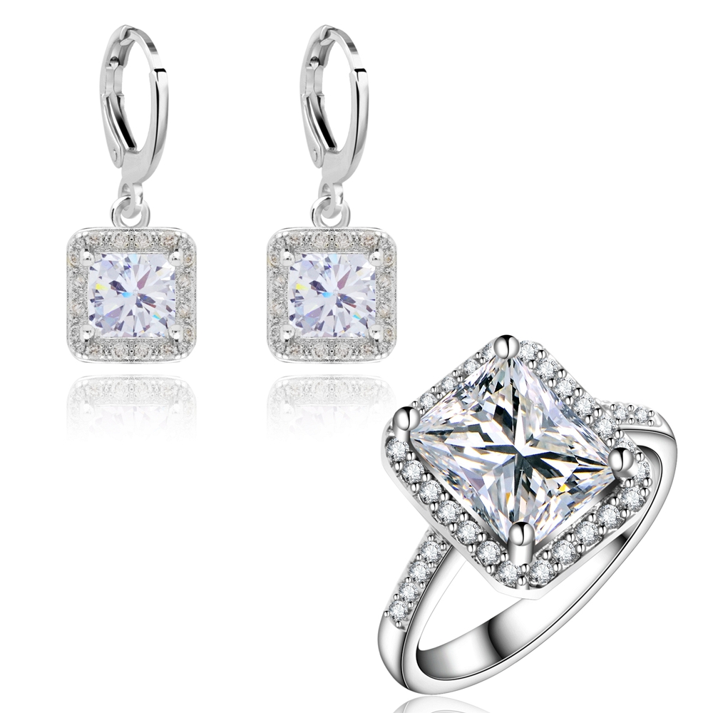 Yunkingdom Wedding Jewelry Sets for women Classic Square Bride Engagement Earrings Rings Sets Wholesale
