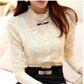 Camisa de encaje mujeres clothing blusas femininas blusas y camisas 2015 nuevas mujeres de la moda tops de lana gruesa mujeres crochet blusa 018a