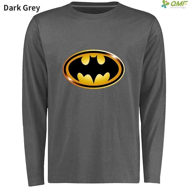 Golden Batman Logo Men T Shirts Long Sleeve Black Batman Symbol Hip