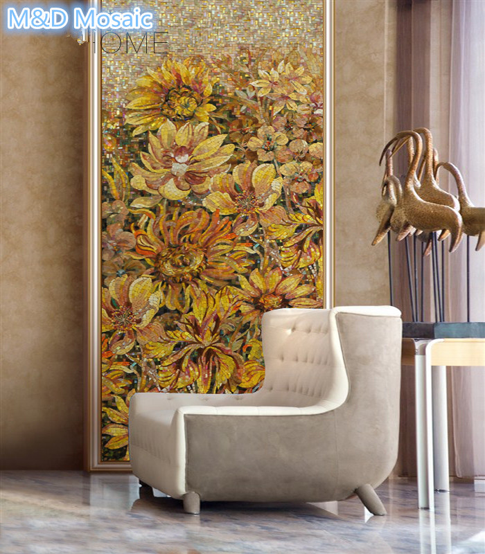Sunflower Hand Cut Mural Mosaic Wall Art Decorative Floor Ceiling Wall Tile  Bathroom Living Room Backsplash Entranceway Flower In Wallpapers From Home  ...