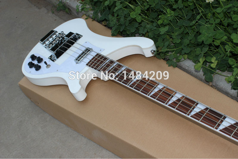 Wholesale - 4 strings bass 4003 pure white electric bass guitar silver hardware China Guitar HOT SALE escaping magic props silver champagne