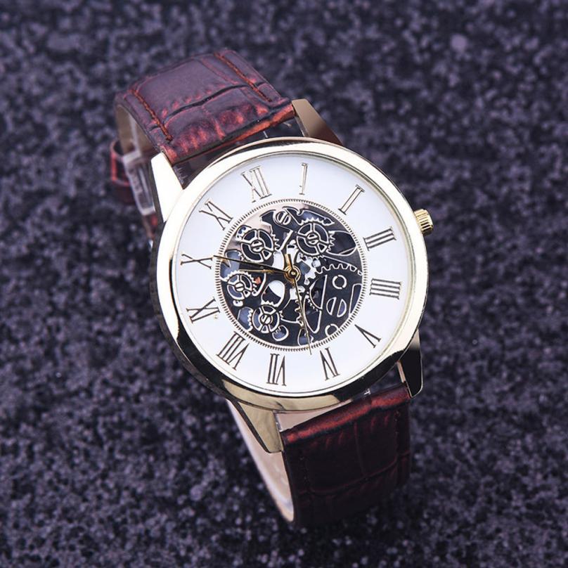 Relogio masculino Luxury Brand Men Watch Fashion Rome Digital Leather Band Analog Dial Quartz Wristwatch Watches Male Clock #D