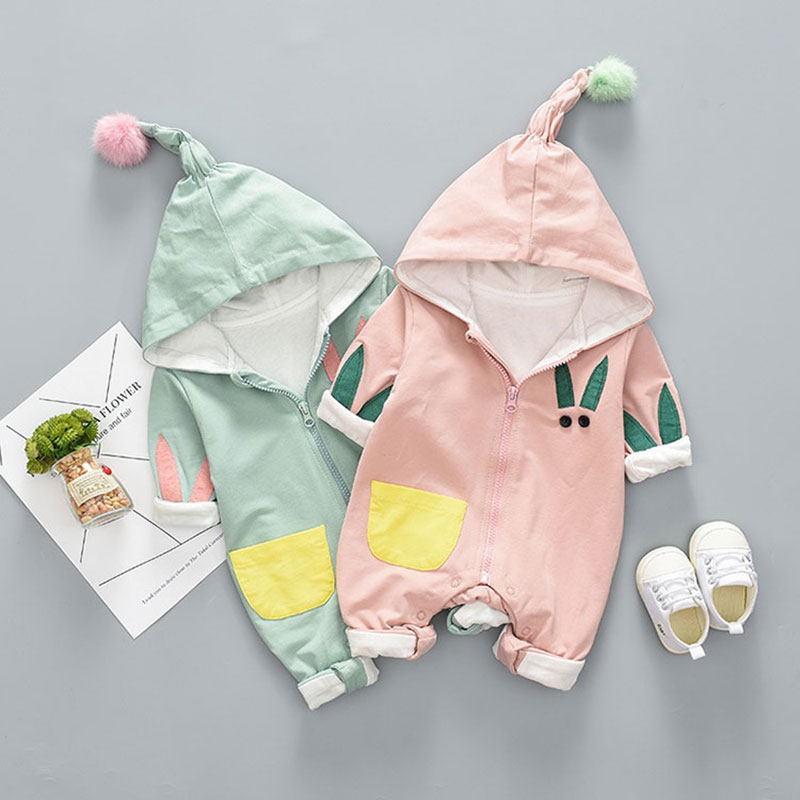 Autumn spring baby girls boys Cotton Hooded Rompers for Newborn Baby Warm Outerwear Infant Boy Girl Jumpsuit Toddler Clothing baby clothing newborn baby rompers jumpsuits cotton infant long sleeve jumpsuit boys girls spring autumn wear romper clothes set