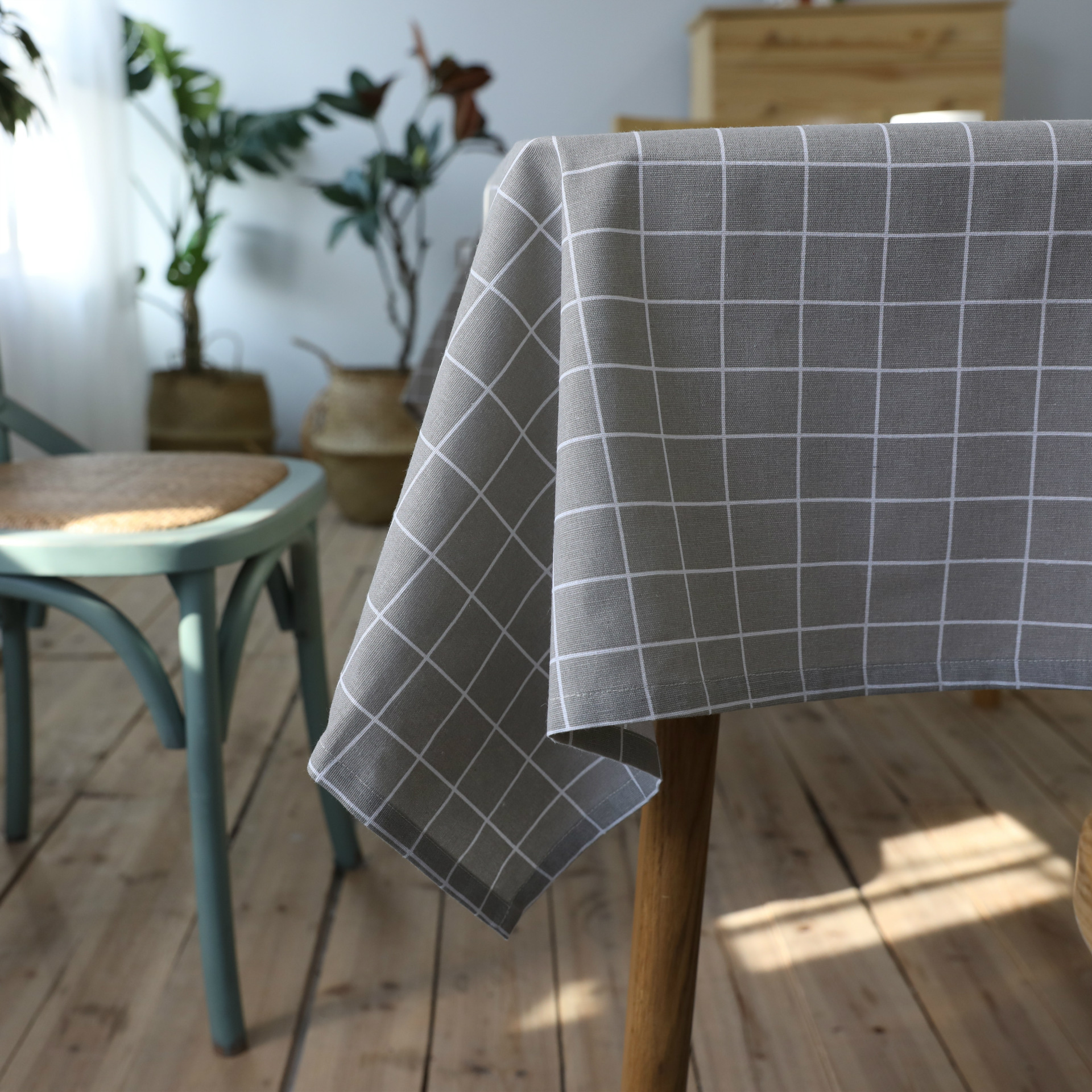 Grey Plaid Tablecloth Art Cotton Linen Coffee Table Cover