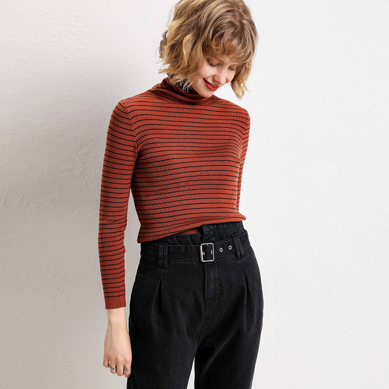 adohon 2019 woman winter 100 Cashmere sweaters and auntmun knitted Pullovers High Quality Warm Female Plaid Turtleneck in Pullovers from Women 39 s Clothing