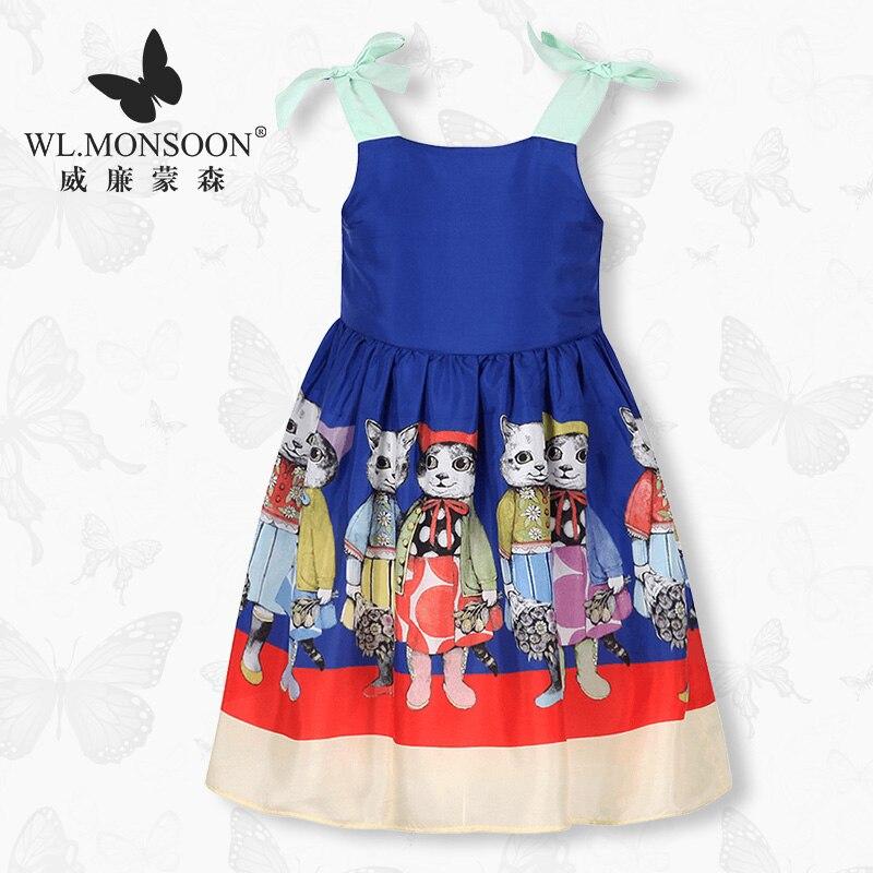 Merk meisjes dress2019 kinderkleding zomer jurk moerbei zijde prinses jurk cartoon kat buitenlandse stijl jarretel jurken tij
