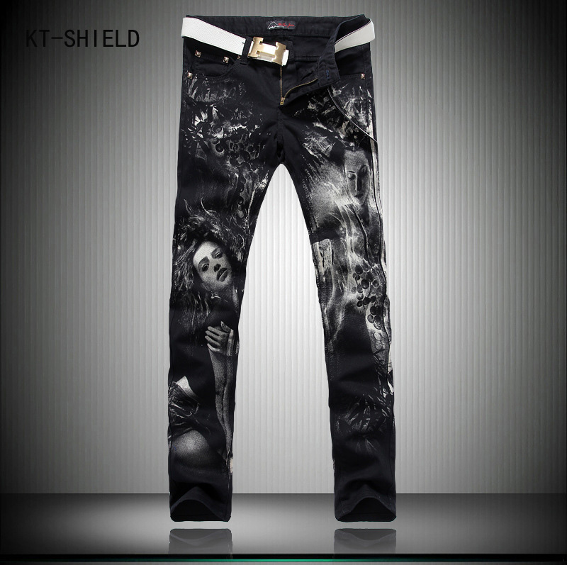 England style slim fit printed biker jeans men brand pattern black fashion skinny jeans men denim