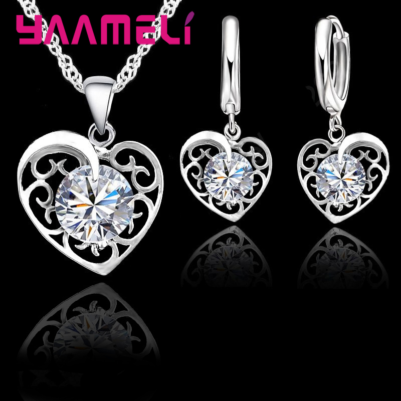 Yaameli Romantic Heart Jewelry Set For Women Sterling 925 Silver Wedding Pendant Necklace Charm Hoop Earring Elegant Party Gift