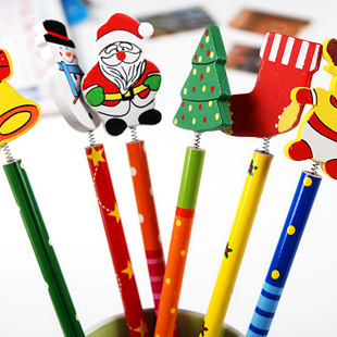 100pcs/lot Christmas Wooden Pencils Novelty Cartoon Stationery Wood Pencils Office&Study pencils Christmas Gifts