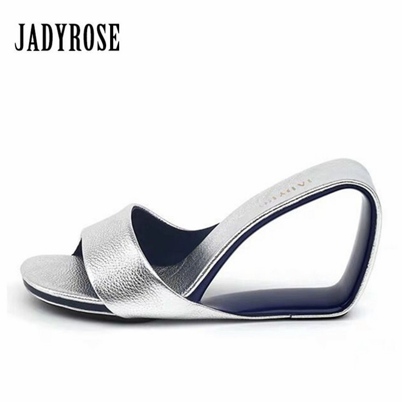Jady Rose Women Summer Sandals Hollow Out Wedge Shoes Woman Gladiator 8CM High Heel Slippers Mules Valentine Shoes Slides-in High Heels from Shoes    1