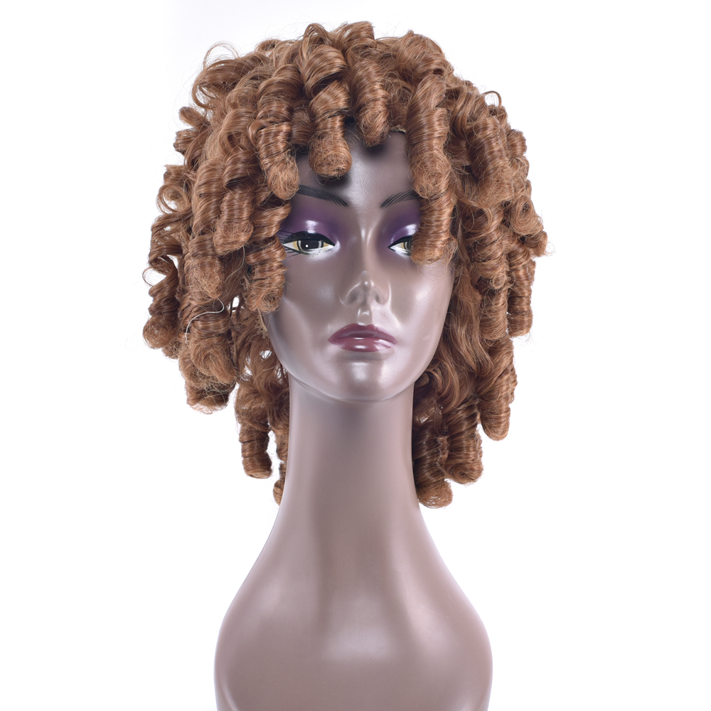 Soowee 5 Colors Curly Short Synthetic Hair Cosplay Wigs Blonde Burgundy Party Hair Accessories Wig for Black Women & Men