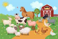 Rural Farm Birthday Party Animal Portrait Baby Cartoon Photo Backdrops Photography Backgrounds Photocall Studio Vinyl