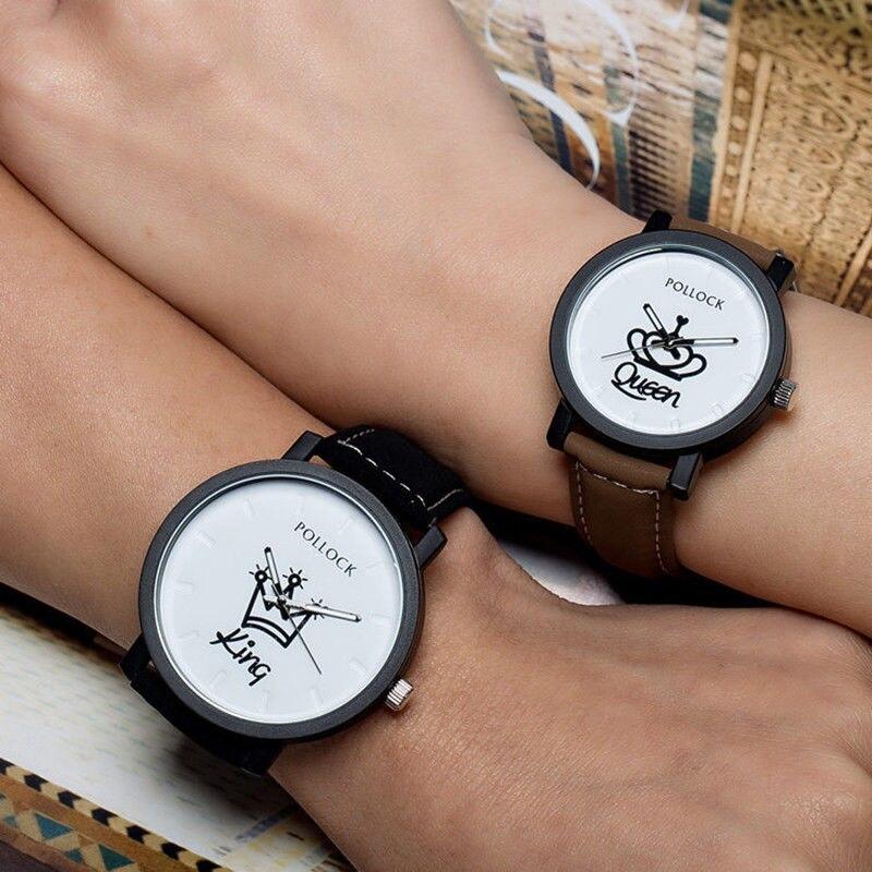King Queen Quartz Women Sports Watch Lover`s Wristwatch Watch Men Leather Strap
