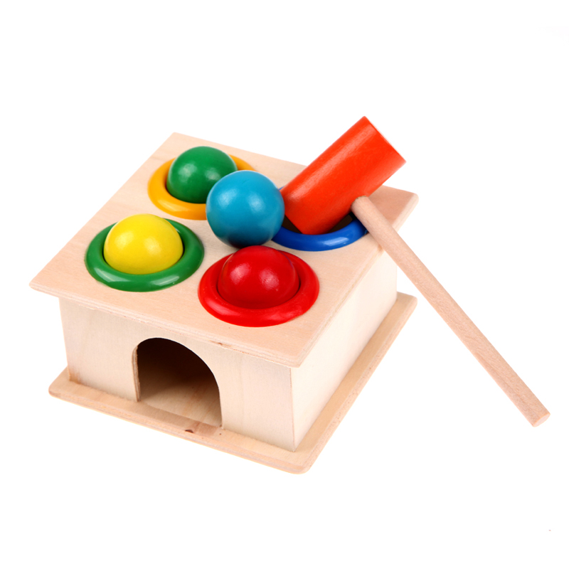 1Set Wooden Playing Hamster Game Toy Hammering Ball Hammer Knocking Box Baby Kids Early Learning Educational Toy kids children wooden block toy gift wooden colorful tree marble ball run track game children educational learning preschool toy