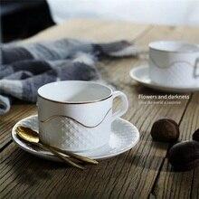 Итальянская керамическая чашка эспрессо и блюдце, набор, простая элегантная кофейная кружка, чашка для послеобеденного чая, 170 мл, маленькая кофейная чашка с поддоном и ложкой