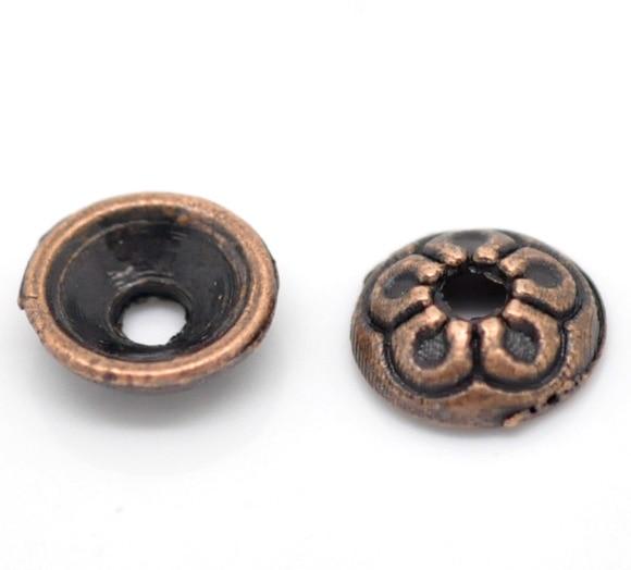 DoreenBeads Zinc Metal Alloy Beads Caps Round Antique Copper(Fits 6mm-8mm Beads)Flower Hollow Pattern 7mm(2/8