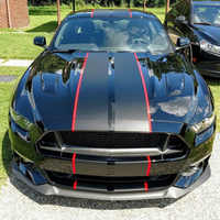 """8 Colors Car Wrap Stickers and Decals For Ford Mustang 2015-2018 10"""" Twin Rally Stripes Car Decal Auto Hood Racing Vinyl"""