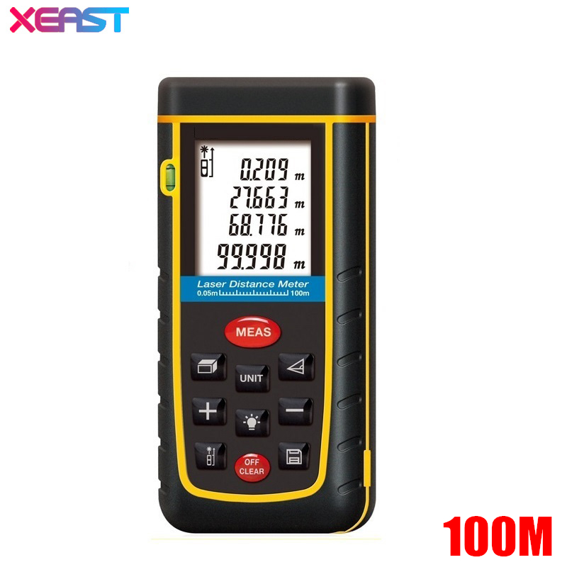 XEAST 100m 328ft Digital Laser Distance Meter Lazer Rangefinder Range Finder Tape Measurer IP54 With LCD Backlight LL52
