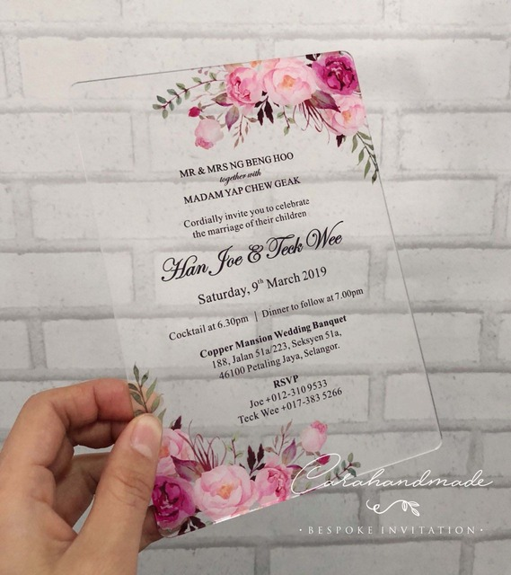 f43cb172852c CA0967 Floral SIMPLY CHIC acrylic wedding invitation customized flower with  envelope liner