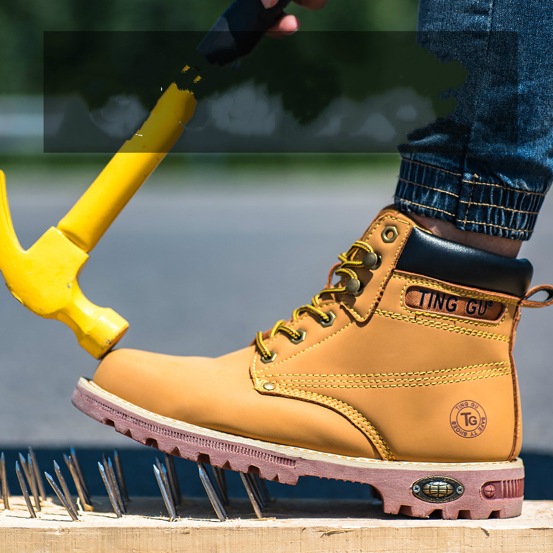 Construction workers' safety shoes are hit - proof and stab-proof men's boots Rubber  Work & Safety  man shoes  mens shoes