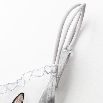 [original design] ultra-thin non-sponge transparent perspective embroidered sexy bra cover animation underwear set 5